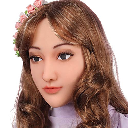 Soft Silicone Realistic Female Head Mask Hand-Made Face for Crossdresser Transgender Halloween Costumes 3G Light Beige -