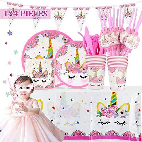 Unicorn Party Supplies Set Birthday Party Tableware & Decoration, 134 Pieces for 16 Guests All-in-One Value Kit, Disposable & Bio-degradable, Magical Themed Party Solution