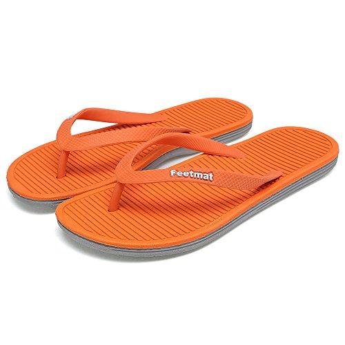 Feetmat Womens Flip-flops Sandaler Lette Thong Sandaler Strand Flate Tøfler Orange / Grå