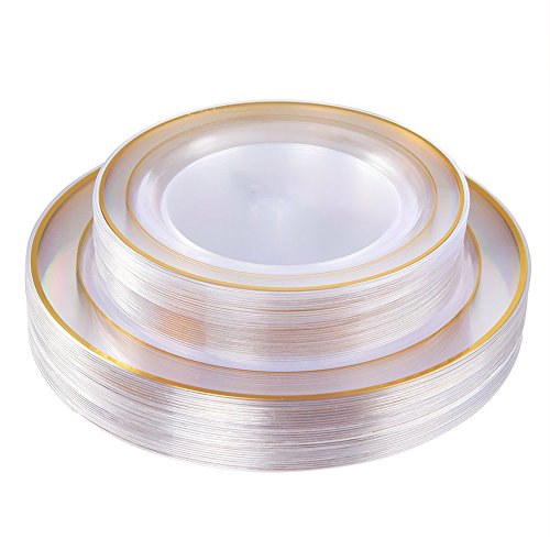 - Gold Plastic Plates 60 Pieces, Disposable Wedding Plates, Crystal Plastic Party Plates Includes: 30 Dinner Plates 10.25 Inch and 30 Salad/Dessert Plates 7.5 Inch