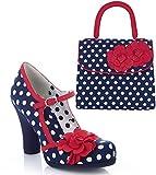 Ruby Shoo Women's Navy Spot Hannah Mary Jane Pumps & Matching Tortola Bag UK 6 EU 39