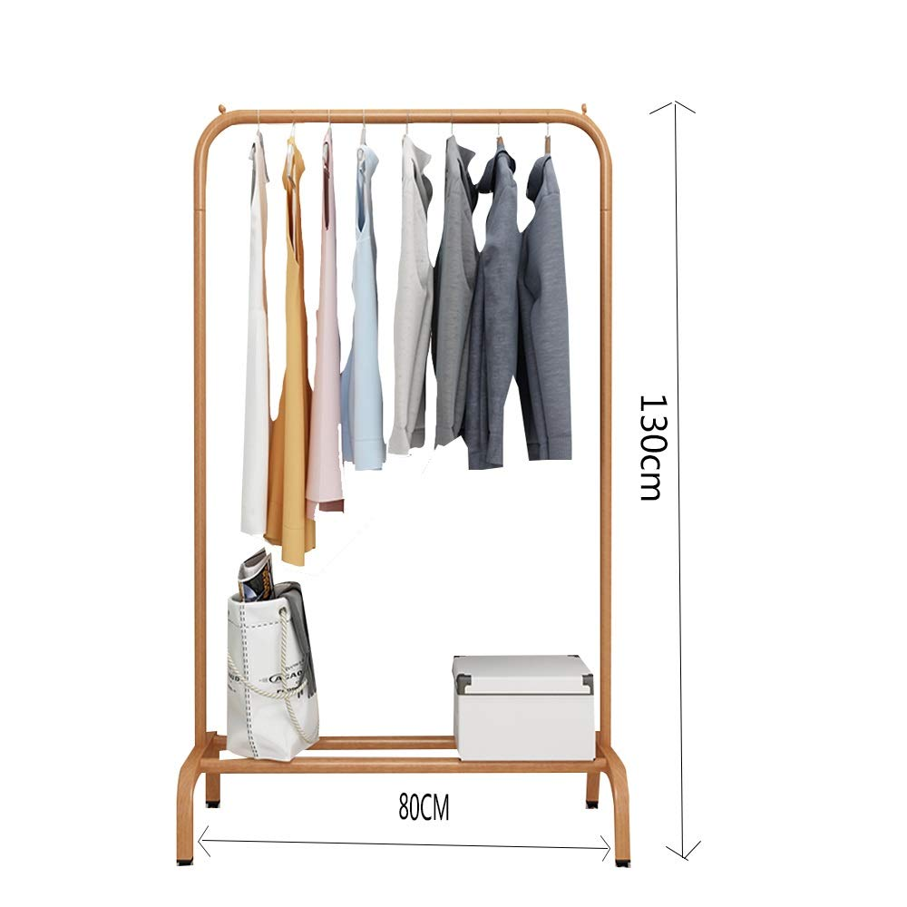 Wood color 80×130CM JIAYING Fashion Heavy Duty Garment Rack with Shelves 1-Tier shoes Rack,Coat Rack with Hanger Bar for Living Room, Bedroom, Study (color   Wood color, Size   80×130CM)
