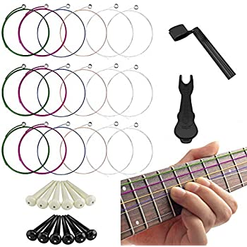 17 pieces acoustic guitar strings changing kit guitar tool strings winder pin. Black Bedroom Furniture Sets. Home Design Ideas