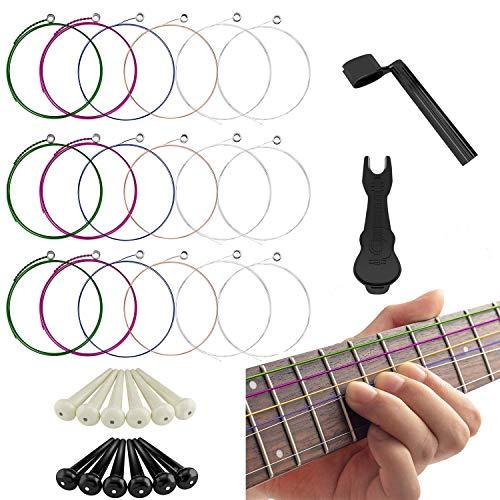 17 Pieces Acoustic Guitar Strings, Changing Kit Guitar Tool Strings Winder, Pin Puller, Plastic Bridge Pins