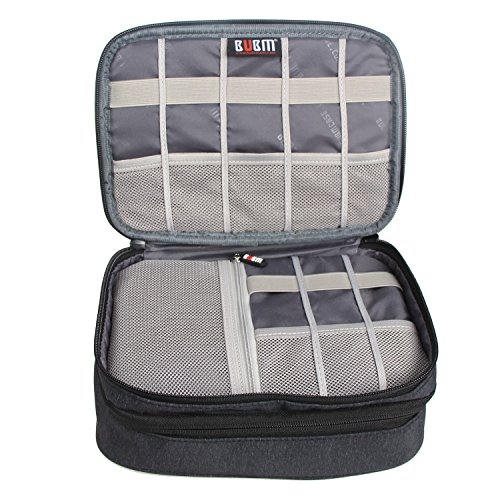 "BUBM Electronic Organizer, Double Layer Travel Gadget Storage Bag for Cables, Cord, USB Flash Drive, Power Bank and More-a Sleeve Pouch for 7.9"" iPad Mini(Medium,Dark Gray)"