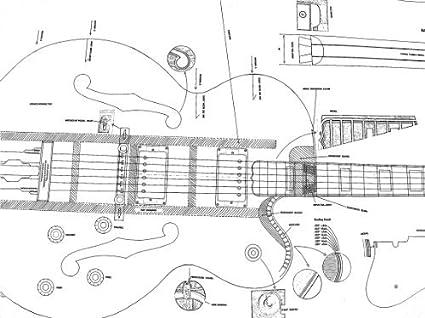 11 plantas para guitarra eléctrica Gibson - Full y dibujos báscula - para hacer guitarras
