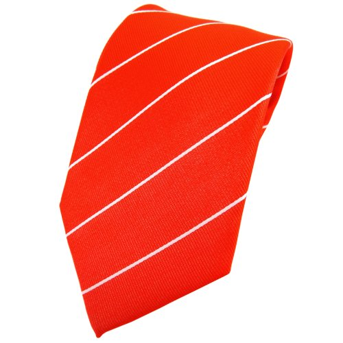 TigerTie cravate en soie orange leuchtorange argent rayé - cravate en soie