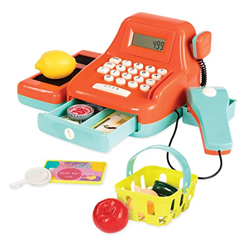 Battat Cash Register Toy Playset - Pretend Play Kids Calculator Cash Register with Accessories for 3+ (26-Pieces)
