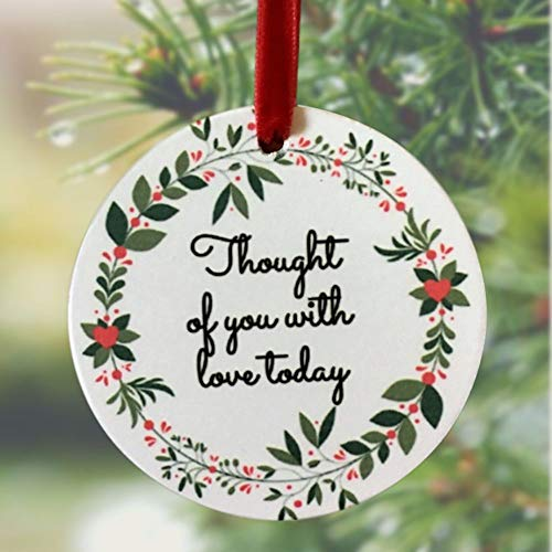 BANBERRY DESIGNS Memorial Christmas Ornament - I Thought of You with Love Today Ceramic Keepsake Hanging Decor - Memorial Gift Loss of a Loved - Ornaments Memorial Christmas Personalize