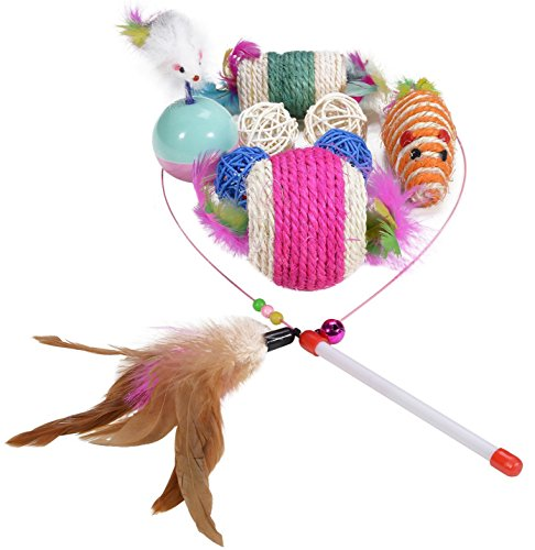 HTKJ 10 Piece Cat Toys Variety Pack Kitty Feather Wand, Sisal Rope Ball Catnip Chew Mice, Pet ID Tag for Dog/Cat