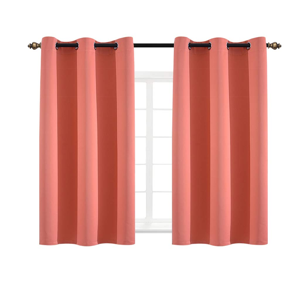 Yakamok Light Blocking Darkening Thermal Insulated Blackout Curtains Solid Grommet Top Window Draperies/Drapes/Panels for Bedroom/Living Room 2 Panels (2 Panel/4263 Inch, Coral)