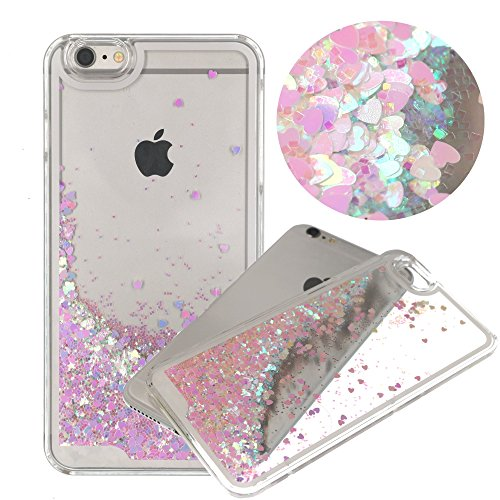 iPhone 6 Case,Cherry Blossom Sakura Liquid Quicksand Bling Heart Case,Flowing Floating Moving Love Heart Hard Case for iPhone6 6S(Bling Cherry Pink) (Case Iphone6 Bling Pink)