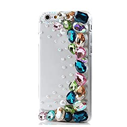 iPod Touch (6th Generation) Case, Sense-TE Luxurious Crystal 3D Handmade Sparkle Glitter Diamond Rhinestone Clear Cover with Retro Bowknot Anti Dust Plug - Colorful Diamond