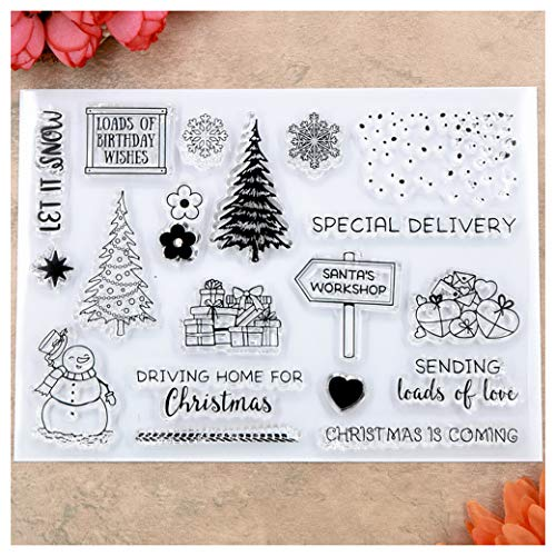 Kwan Crafts Merry Christmas Tree Snowman Snowfall Special Delivery Clear Stamps for Card Making Decoration and DIY Scrapbooking