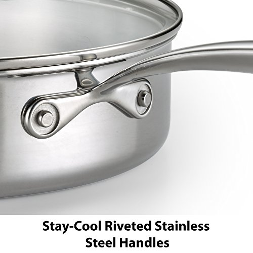 Lagostina Q939SC64 Tri-Ply Stainless Steel Multiclad Dishwasher Safe Oven Safe Glass Lid Cookware Set , 12-Piece, Silver by Lagostina (Image #3)