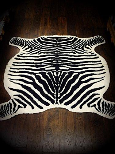 Zebra Hide-Teppich, Kunstfell, cremefarben/Braun, 120 x 140 cm (119.38 cm x 142.24 cm)