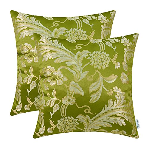 CaliTime Pack of 2 Throw Pillow Covers Cases for Couch Sofa Home Decor Vintage Floral Leaves 20 X 20 Inches Olive Green