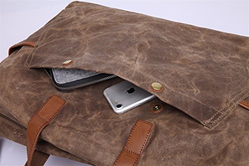 Oil Bag Handbag Men's Canvas Capacity Travel Computer Retro Large Brass Waterproof xEIxaqwH