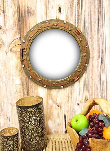Ebros Gift Antique Bronze Rust Finish Nautical Marine Ship Porthole Wall Mirror -