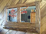 Rustic Oak Coat Rack with Mirror, Shelf, and Carved Leaves