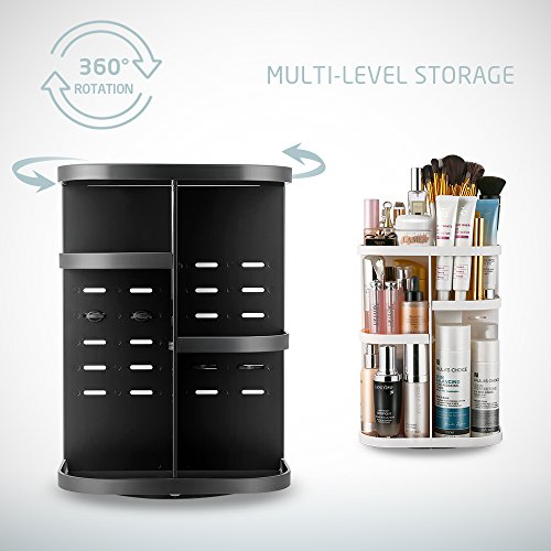 Jerrybox Makeup Organizer 360 Degree Rotation Adjustable Multi-Function Cosmetic Storage Box, Large Capacity, 7 Layers, Fits Toner, Creams, Makeup Brushes, Lipsticks and More (Black) by Jerrybox (Image #1)