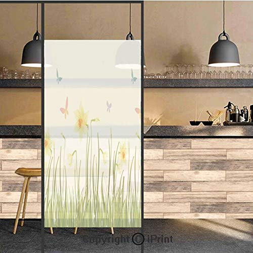 3D Decorative Privacy Window Films,Daffodil Field with Butterflies in Meadow Grass Springtime Park Easter Illustration,No-Glue Self Static Cling Glass film for Home Bedroom Bathroom Kitchen Office 24x (Park Meadows Shops)