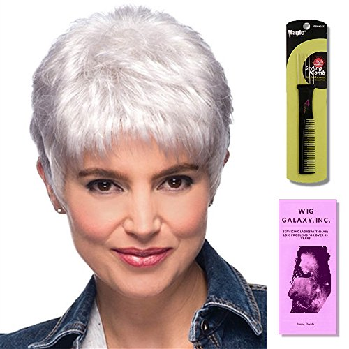 Jamie by Estetica, Wig Galaxy Hair Loss Booklet & Magic Wig Styling Comb/Metal Pick Combo (Bundle - 3 Items), Color Chosen: R344LF58 by Estetica & Wig Galaxy