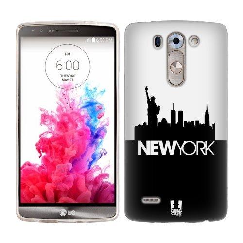 Head Case Designs New York Black and White Skyline Soft Gel Back Case Cover for LG G3 Beat D722K S D722 Vigor D725