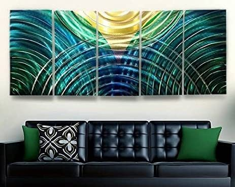 Large blue yellow green bright modern metal wall sculpture colorful abstract painting