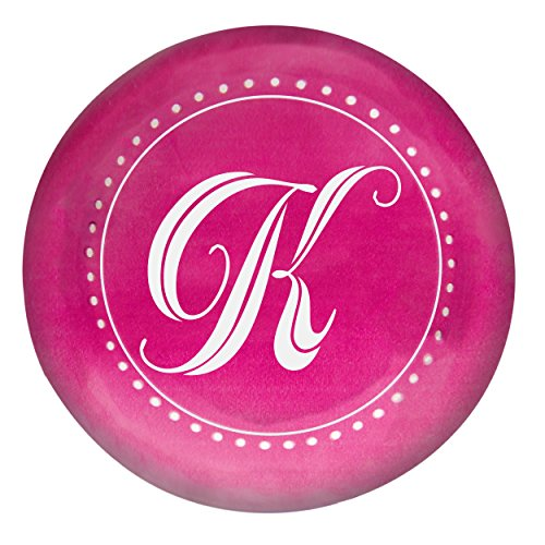Concepts Decoration Cathys Table (Cathy's Concepts Personalized Circle with Script Letter Domed Paperweight, Letter K, Pink)