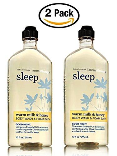 Warm Milk and Honey Body Wash and Foam Bath - Set of TWO Bath and Body Works Aromatherapy Sleep Shower Gel and Bubble Bath - 10 oz each