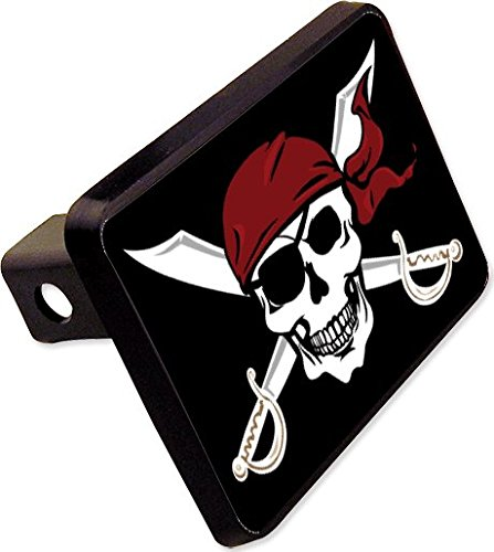 Pirate Trailer Hitch Cover Plug Funny Skull Novelty by cheapyardsigns