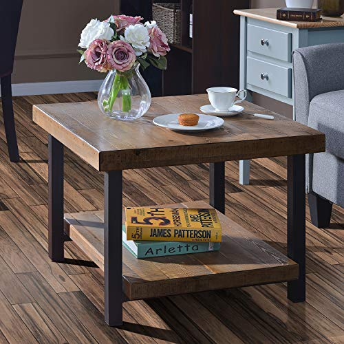 """Coffee Table Easy Assembly Rustic Natural End Table with Storage Shelf for Living Room (26"""")"""