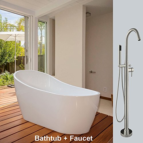 Best Price WOODBRIDGE F-0001 67 Acrylic Freestanding Bathtub Soaking Tub B-0001 with Brushed Nickel...