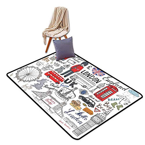 (Anti-Static Rug Doodle I Love London Double Decker Bus Telephone Booth Cab Crown of United Kingdom Big Ben W55 xL79 Suitable for Restaurants,Family Rooms,corridors,foyers.)