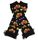 Pumpkin Print Black Cotton Leg Warmer Socks Accessory for Halloween 2-6y