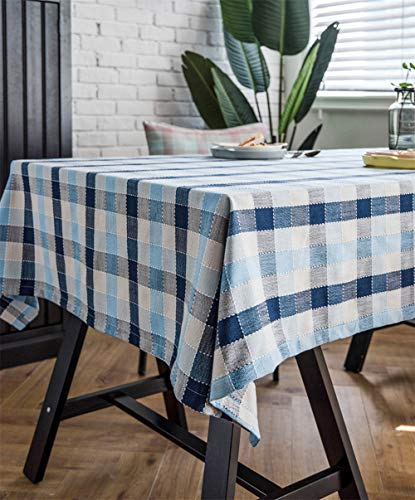 Omelas Buffalo Checked Rectangle Table Cloths Blue and White Plaid Grid Tablecloths Line Cotton Stain-Proof Table Top Cover for Kitchen Dinning Coffee Table Decor (52x86in/135x220cm,Blue)