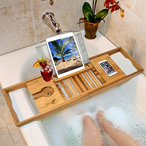 Nature Gear Wood Bamboo Luxury Bath Caddy for Your Book, Tablet or Smartphone - Bathtub Tray with Extending Arms