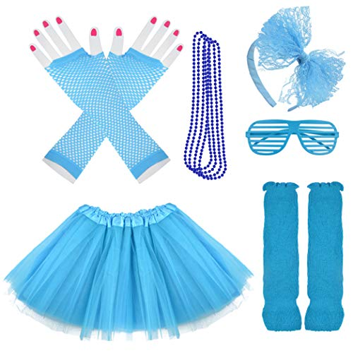 Miayon Kids 6 in 1 Costume Accessories 1970s 1980s Fancy Outfits and Dress for Cosplay Party Theme Party for Girl (Blue)]()