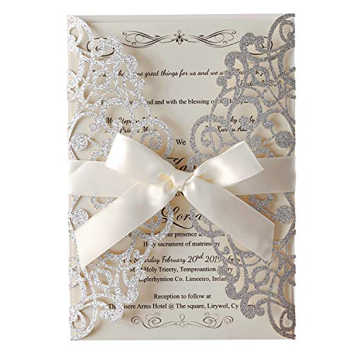 Hosmsua 20x Laser Cut Lace Flora Wedding Invitation Cards with Ribbon Bow and Envelopes for Bridal Shower Engagement Birthday Graduation Party 20pcs (Sliver Glitter)