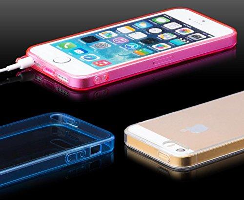 Apple iPhone SE / 5S / 5 | Pare-chocs iCues Clear Case Fond bleu | [Protecteur d'écran, y compris] la lumière supplémentaire très mince protecteur de feuille transparente Temps clair de gel de silicon