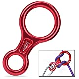 Figure 8 Descender ,Smart Desired 35KN / 3500kg Rappel Device Equipment Rigging Plate for Rappelling Belaying Rock Climbing, Rescue , Red