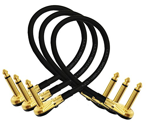 15in Instrument Cable (3 Units - Gotham GAC-1 - 15 Inch - Ultra-Flexible Instrument Effects Patch Cable With Gold 1/4 Inch (6.35mm) Low-Profile, Right Angled TS Connectors - CUSTOM MADE By WORLDS BEST CABLES.)