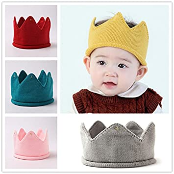 Blue Yeahibaby Baby Warm Winter Knitted Cap Hat Crown Knit Headband