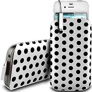 N4U Online - Nokia Lumia 525 de protección pu Polka de cuero con cremallera diseño antideslizante de cordón en la bolsa del caso con cierre rápido y Mini Stylus Pen - Blanco