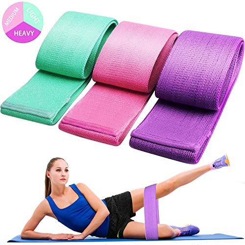 Exercise Resistance Bands for Legs and Butt, Anti-Slip & Roll Workout Booty Bands for Women Squat Glute Hip Training, 3 Levels Sports Fitness Band -jy