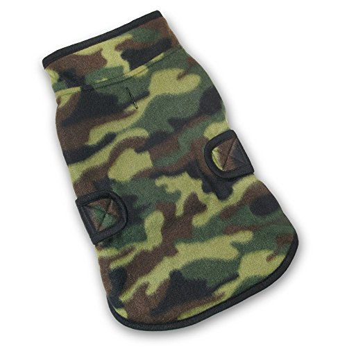 (Best Pet Supplies 250-DAM-L Voyager Reversible Windproof Pet Fleece Jacket, Large, Green/Camo)