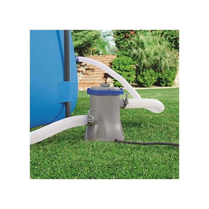 51pCQ8ay2fL La forma redonda proporciona una instalación más fácil, una mayor estabilidad y menos espacio desperdiciado Uso inmediato, este completo conjunto de piscina para jardín se hincha rápidamente La válvula de drenaje con control de flujo incorporada y el adaptador incluido le permiten conectar una manguera de jardín para un drenaje simple y rápido de la piscina