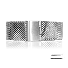 Fitian New Replacement Stainless Steel Wire Mesh Steel Fold Over Buckle Watch Band Strap for Moto 360 Smart Watch Motorola Wristband with Free a Screen Protector for Moto 360 and a Spring Bar Tool (Brushed Stainless & Thick Mesh)