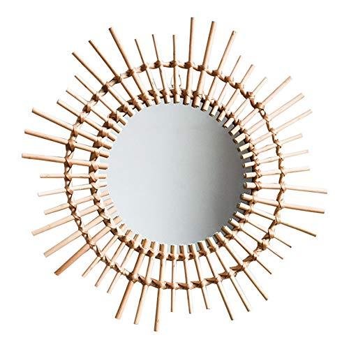 Z-jingzi Rattan Mirror Innovative Art Decoration Round Makeup Mirror Dressing Bathroom Nordic - Bathroom Mirrors Rattan Standing